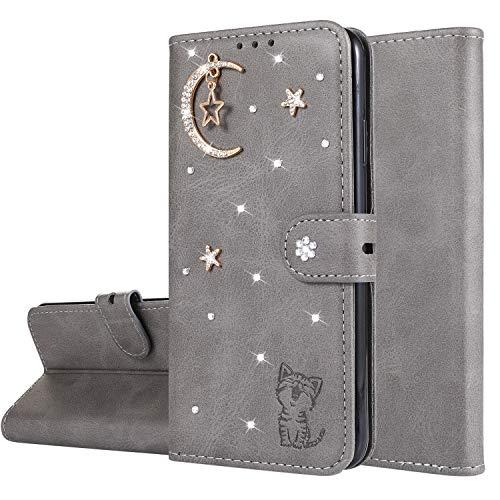 Miagon Diamant Brieftasche Hülle für OnePlus 7 Pro,Mond Star Katze 3D Design PU Leder Flip Handyhülle Klapphülle Klappbar Silikon Bumper Schutzhülle,Grau