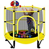 Asee'm Indoor Trampoline for Kids with Net - 5 FT Outdoor Mini Toddler Trampoline with Safety Enclosure, Mini Basketball Hoop for Fun, 60' Small Trampoline