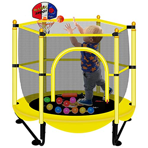 60' Trampoline for Kids with Net - 5 FT Indoor & Outdoor Toddler Baby Trampoline with Safety Enclosure, Mini Basketball Hoop, Small Trampoline Birthday Gifts for Kids, Gifts for Boy and Girl, Age 1-8