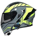 Cascos Modulares De Motocicleta Bluetooth,ECE Certificación Abatible Cascos Integrales De Moto Lente De PC De Alta Definición Cascos Abiertos De Moto para Mujeres/Hombres 4,XL 61-62