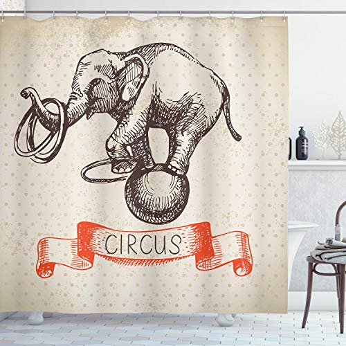 """Ambesonne Vintage Shower Curtain, Hand Drawn Dancing Elephant Circus Vintage Backdrop Wizard Miracle Wonder Animal, Cloth Fabric Bathroom Decor Set with Hooks, 75"""" Long, Ecru Red"""