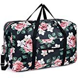 Bolsa de viaje plegable, de lona, ideal para fines de semana o para llevar al gimnasio, equipaje de mano, maleta para niñas, niños y mujeres, Peonía Negra, free,