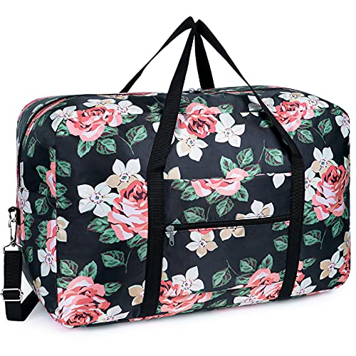 Faltbare Duffel Taschen Reise-Gepäck Leichter Sporttasche Handgepäck für Weekender Herren Damen (Schwarze Pfingstrose)