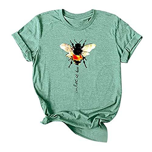 SatinGold Hart Arbeitend Biene T-shirt Kurzarm Shirt, Damen Cute Sommer Hemd Süßes Imker Geschenk Tops, Mädchen Teen Mode Rundkragen Elegante Oberteile