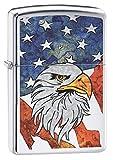 Zippo Lighter: Fusion Bald Eagle and American Flag - High Polish Chrome 79806