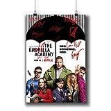 Pentagonwork The Umbrella Academy Casts Autografiado Reprint Superhero Movie Poster A3 29 x 42 cm Impresiones con pegatinas 2019, Ellen Page Tom Hopper Firmado, 1240-001