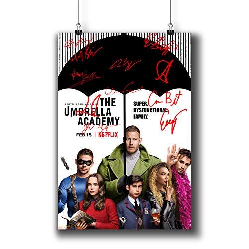 Pentagonwork The Umbrella Academy Casts Signierter Nachdruck TV-Show Poster, 20,3 x 20,3 cm, A4-Drucke, mit Aufklebern, Superhelden-TV-Serie Saison, Ellen Page Tom Hopper Autographed, 1240-001