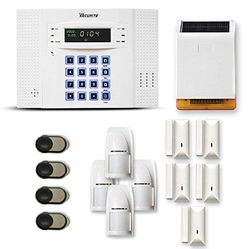 Alarme Maison sans Fil DNB 4 à 5 pièces Mouvement + Intrusion + sirène extérieure Solaire - Compatible Box Internet et GSM