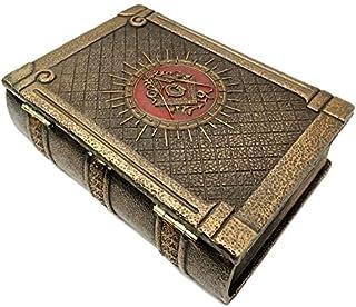 "Ebros Masonic Symbol Freemasonry Square and Compasses Ritual Morality Hinged Book Box 5.75""Long Small Jewelry Box Container"