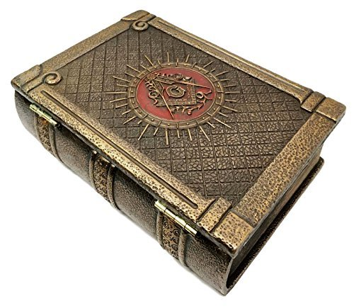 Ebros Masonic Symbol Freemasonry Square and Compasses Ritual Morality Hinged Book Box 5.75'Long Small Jewelry Box Container