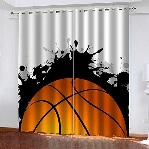 Pallacanestro Tende Oscuranti Termiche Isolanti Gray basket sport Occhiello Sipario Cameretta Bambini 2 Pannelli Poliestere tenda cameretta Immagine Motivo Decorativo 220 x 215 cm (LxA)