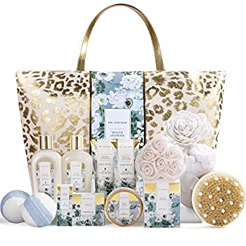Spa Gift Baskets Spa Luxetique Spa Gifts for Women Luxury 15pcs Spa Gift Set Includes Bath Bombs Essential Oil Hand Cream Bath Salt and Handmade Tote Bag
