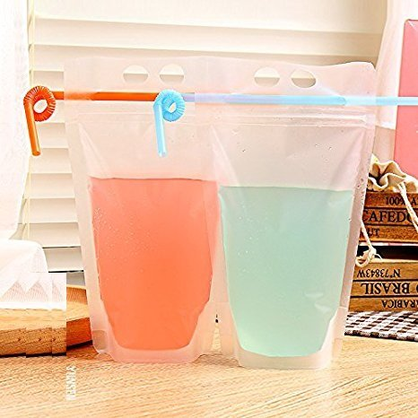 SarSean 20PCS 500ML Frosted Zipper Hand-Held Heat-Resistant Plastic Bags for Drinks Tea Juice