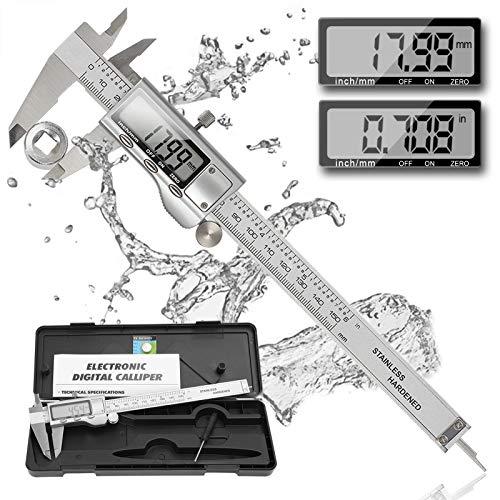 REEXBON Pied a Coulisse Digital/Pied à Coulisse Numérique 150 mm 0-6 pouces / Acier Inoxydable/Ajustage de Précision/Mesure de Diamètre Calibre Profondeur/Grand Ecran LCD/Boîte de Protection