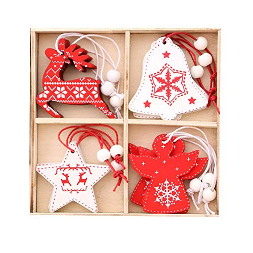 GAOFQ Christmas Ornament Wooden Hanging Pendants Star Xmas Tree Christmas Decorations for Home Party, 4pcs/Set