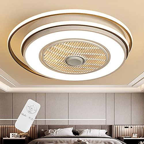 Ventilador De Techo Con Iluminación Velocidad Del Viento Ajustable Y Temperatura De Color Con Control Remoto Ultra Silencioso Moderno Luz De Techo Dormitorio Sala De Estar Lámpara 220V (63cm)