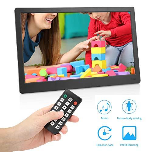 Digitale fotolijst, Full HD 1080P 15,6-inch breedbeeld elektronisch fotoalbum met foto-/muziek-/videospeler en kalender Alarmfunctie Digitale fotolijsten Cadeau voor familie, vrienden.(EU)