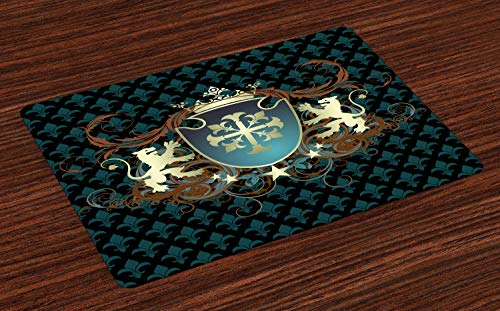 ABAKUHAUS Medieval Salvamantel Set de 4 Unidades, Escudo de Armas de la Edad Media, Material Lavable Estampado Decoración de Mesa Cocina, Teal Negro Canela