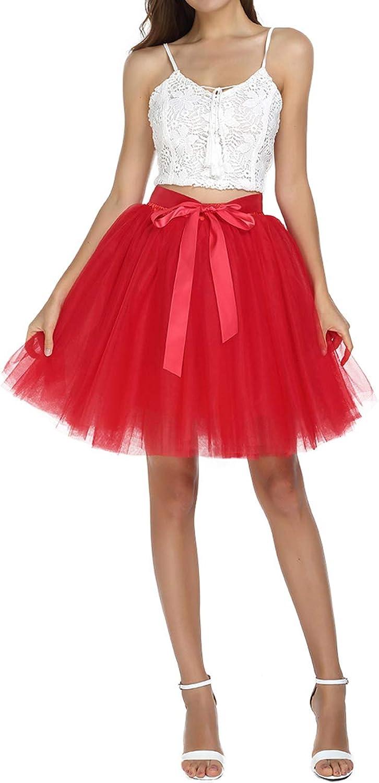 SUMMER RAIN Women's Above Knee High Waist Tutu Tulle Skirt Adult 7 Layers Dance Petticoat Red