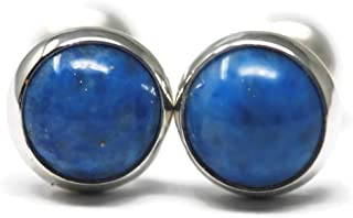 Denim Lapis-lazuli and Polished Sterling Silver 6mm Stud Earrings