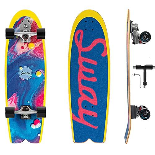 Skate Surfing Skateboard Completo Para Principiantes Con S7 Carving Truck, 32In Profesional Longboard Con Rodamiento ABEC-11 & 7 Capas Monopatín De Madera De Arce Para Adolescentes Adultos Niñas Niños