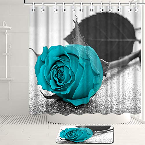 Artsbay Black and White Teal Flower Shower Curtain Set with...