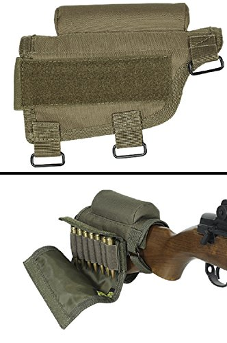 Ultimate Arms Gear Rifle Ammo Round Shot Shell Cartridge Hunting Stock Buttstock Cheek Rest Carrier Case Holder Fits .308 300 Winmag Remington 700 770 M24, Coyote Tan