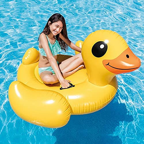 Mopoq Large yellow duck swimming ring adult with handle mounts double large water inflatable toy children duck thickening floating bed