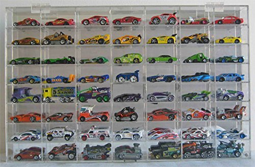 1:64 Scale Toy Cars Wheels Matchbox Display Case Wall Cabinet Rack 56 Compartment Hot-AHW64-56