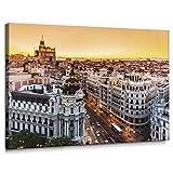 Cuadro de Gran Vía de Madrid en Lienzo de 100 x 70 cm, Decoración para Pared de Salón,...