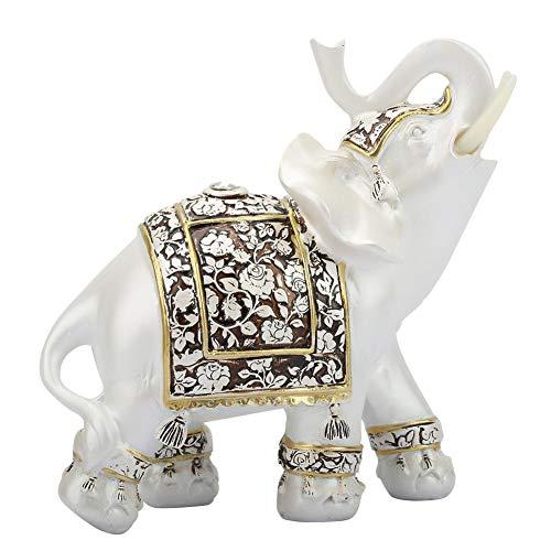 Exquisito Estatua de Elefante Resina Modelo de Elefante Riqueza Afortunada Estatuilla Pintada A Mano Artesanal Decorativa para el Hogar Sala de Estar Vinoteca Decoraciones