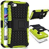 OneFlow® Outdoor Back-Cover aus Silikon + Kunststoff [Double-Layer] passend für iPhone 5S / 5 / iPhone SE | Extrem beständiger 360° Schutz, Grün