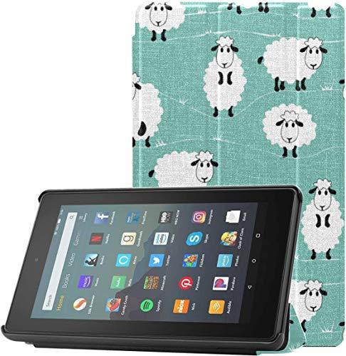 Funda Fire Kindle Tablet Case Funny Sheep Doing Yoga Kindle Fire HD 7 Funda 2019 para Fire 7 Tablet (novena generación, versión 2019) Ligero con Reposo automático/activación