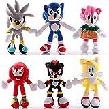 6 Piezas Lindos Juguetes De Peluche Sonic The Hedgehog 26-30Cm, Sonic Shadow Amy Rose Knuckles Tails...