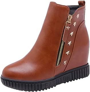 AmoonyFashion Women's Pu Zipper Round-Toe High-Heels Low-Top Boots, BUSXT114979