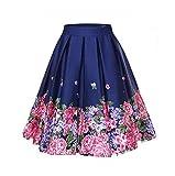 who-care 4XL Floral Print 50S 60S Faldas Más el Tamaño Grande Swing Retro Falda de Talle Alto Plisado Falda 50S Vintage Mujeres Ropa 2 48