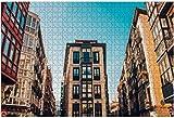 Calle en el casco antiguo de Bilbao, Royalty Rompecabezas de madera para adultos Regalo creativo Juguetes Rompecabezas Decoración para el hogar, 500 piezas, 52 * 38 cm