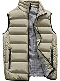 XinYangNi Men's Down Vest Winter Casual Work Sports Travel Outdoor Padded Puffer Pockets Khaki US S