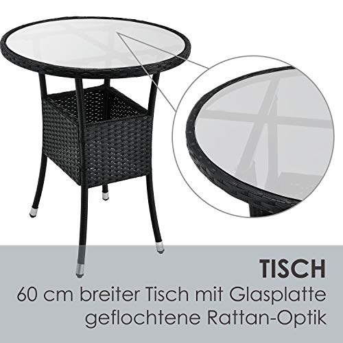 ArtLife Polyrattan Balkon Set Bayamo 2 Personen – Tisch mit Glasplatte & 2 Stühlen – Wetterfeste Balkonmöbel – Auflagen waschbar – schwarz - grau - 5