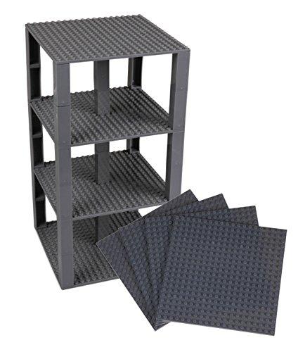 Stapelbare Premium-Bauplatten - inkl. neuen verbesserten 2x2-Bausteinen - kompatibel mit allen großen Marken - geeignet für Turm-Konstruktionen - Set aus 4 Platten - je 15,2 x 15,2 cm - Dunkelgrau