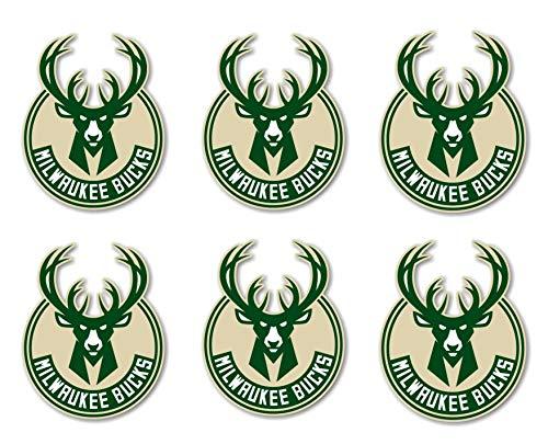 Rmix Milwaukee Bucks Sticker Set 6 Stück + 6 Mini Basketball Sticker NBA Team Logo Hirsch