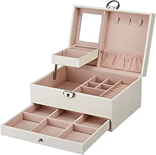 MONTE Leather Jewelry Box Multi-layer High-capacity Storage Box with Lock and Mirror Multi-functional Jewelry Box for Neck...