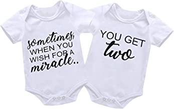 Mini honey 2Pcs Infant Twins Baby Boys Girls Short Sleeve Letter Print Romper Bodysuit..