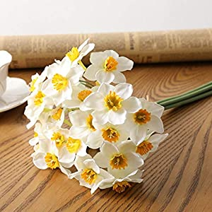 Artificial and Dried Flower 6pcs/Lot Home Room Artificial Simulation Narcissus Flower Living Room Window Decor Fake Flowers Wedding Scene Decor Daffodil
