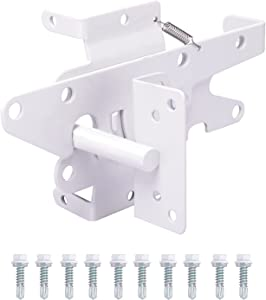 Bordersmover Heavy Duty Gate Latch, Post Mount Automatic Self-Closing Gate Latch,for Wooden/Vinyl Fence, Pool gate,Garden Outdoor, W/Mounting Screws (White)