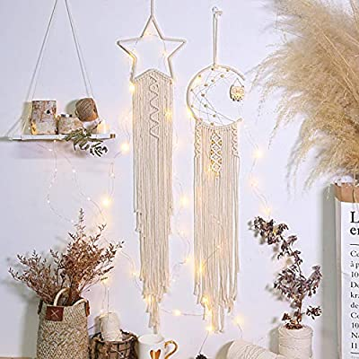 Artilady Macrame Dream Catchers for Bedroom - Boho Wall Hanging Handmade Woven Dream Catcher for Home Decor Ornament Craft Gift (Star Owl)