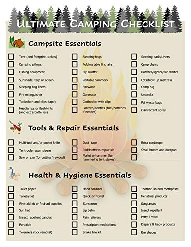Ultimate Camping Equipment Checklist -Laminated & Double Sided - Never Forget Packing Items