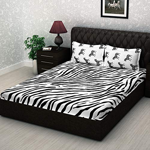 Story@Home Metro Fine Cotton Mix N Match 186 TC Bedsheet for Double Bed with 2 Pillow Cover, White