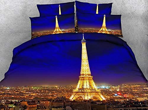 3 tlg. Bettbezug mit bettwäsche 155x220cm Drucken 2 Kissenbezügen 80 x 80 cm Eiffelturm Nachtansicht Hochwertiger Stoff Falten- und Verblassungsbeständig Atmungsaktive Baumwoll