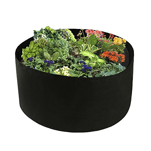 "Xnferty 100 Gallons Extra Large Round Raised Garden Bed, Deep Soil Diameter 38""/ Height 20"" Planting Container Grow Bags Durable Felt Fabric Planter Pot for Plants,Vegetables,Flowers (Black)"